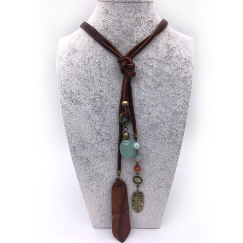 Big Chalcedony Stone Necklace