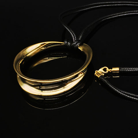 Necklace- Golden Moebius Ring
