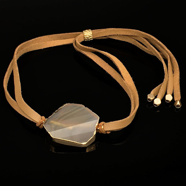 Home Addictions: Lifestyle - Leather Necklace- Agate, by  Oh La La