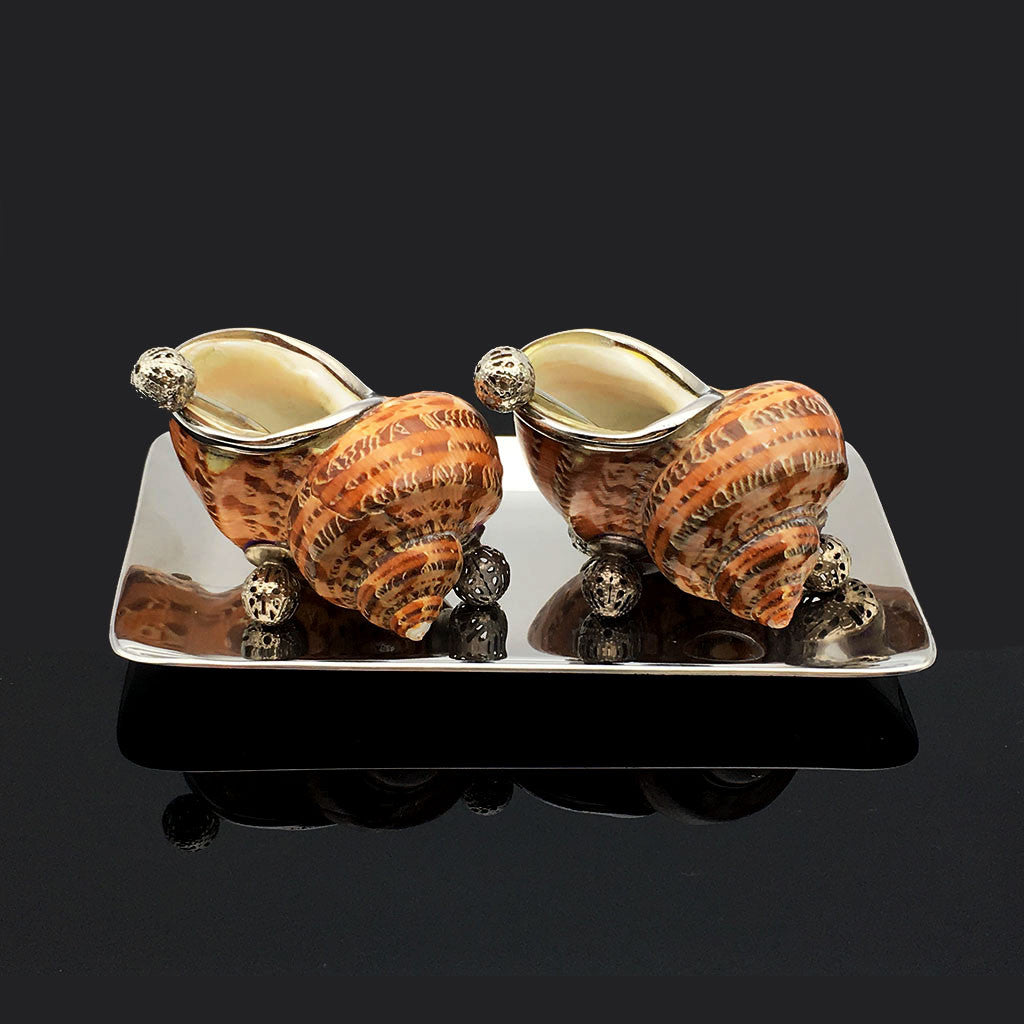 Home Addictions: Salt & Pepper Sets - Turban Tapestry Shell Salt & Pepper Set (Reddish Brown), by  TNV
