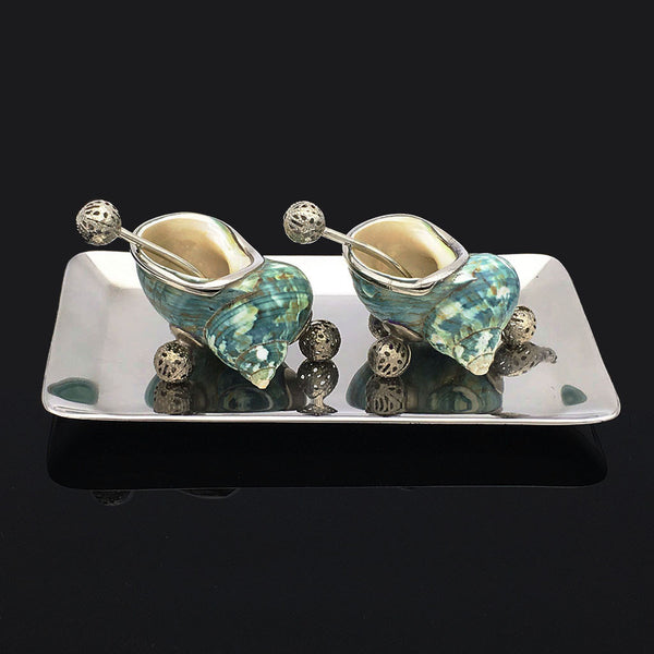 Home Addictions: Salt & Pepper Sets - Tapestry Turban Shells Salt & Pepper Set (Speckled Green), by  TNV