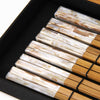 Home Addictions: Utensils - White Abalone and Teakwood Chopstick Box Set - 6 pairs/ White, by  TNV