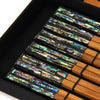Home Addictions: Utensils - Abalone Shell and Teakwood Chopstick Box Set - 6 pairs/ Green, by  TNV