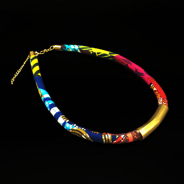 Kente Print Tube Necklace-  Ocean (Large)