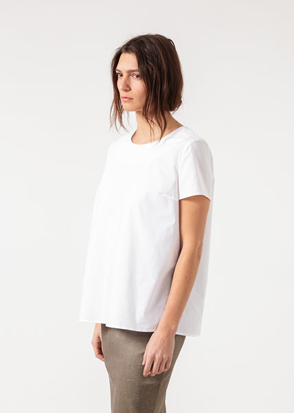 Pleat Back Blouse in White