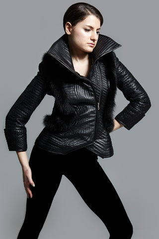 Kim Levin black trapunto quilted leather jacket