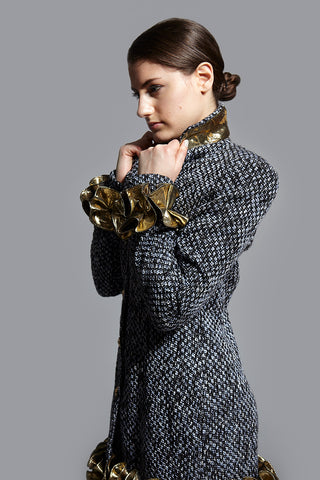 Kim Levin boucle and jacquard jacket coat popping the collar up