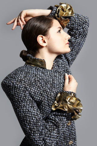 Kim Levin boucle and jacquard jacket coat popped collar up