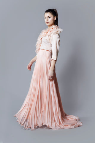 Kim Levin light pink silk dress with a pleated chiffon skirt and organza flounce