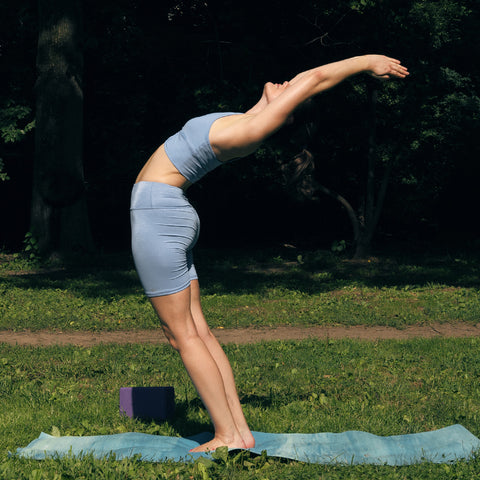 Kim Levin Fit Model yoga pose mountain stretch back in Central Park