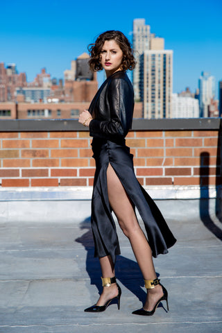 Kim Levin Fit Model black leather jacket and silk dress on NYC rooftop