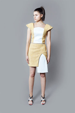 Kim Levin yellow boucle dress with white leather
