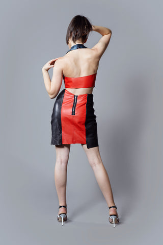 Kim Levin red and black leather dress