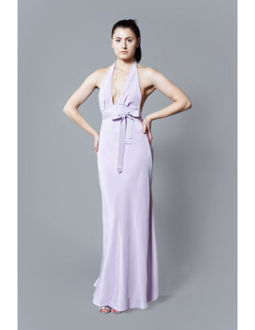 Kim Levin lilac purple silk dress with halter straps, grosgrain ribbon, and pleated chiffon gore