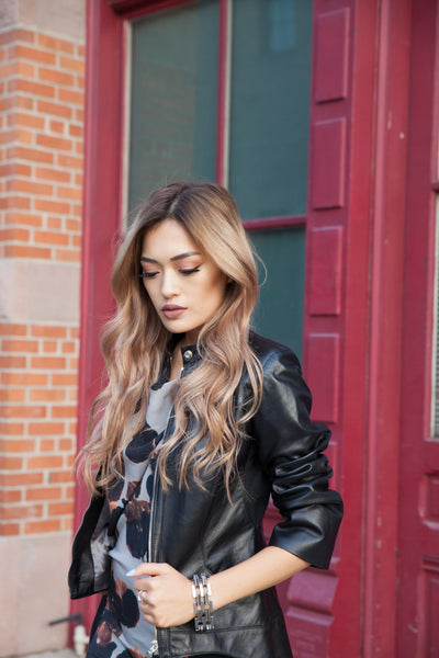 Sincere Leather Jacket - Argentous Kim
