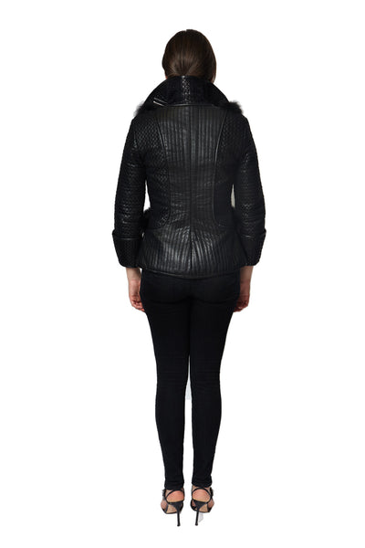 Trapunto Quilted Leather Jacket - Argentous Kim