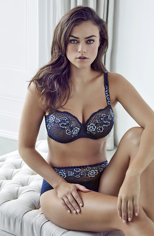 blue bra and brief set with blue and white floral patterns