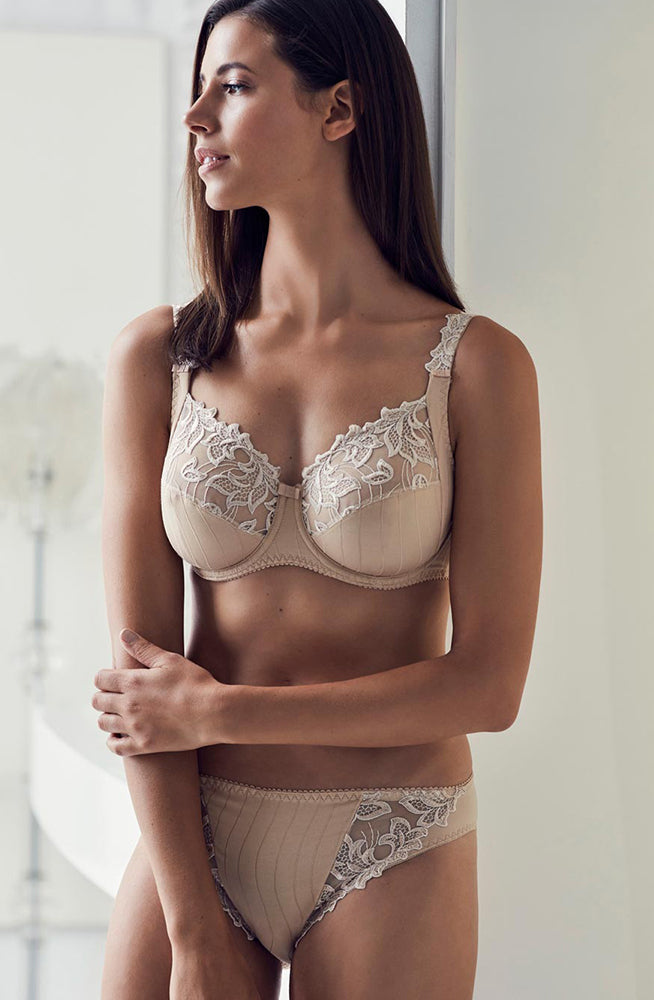nude colour laced bra and brief set