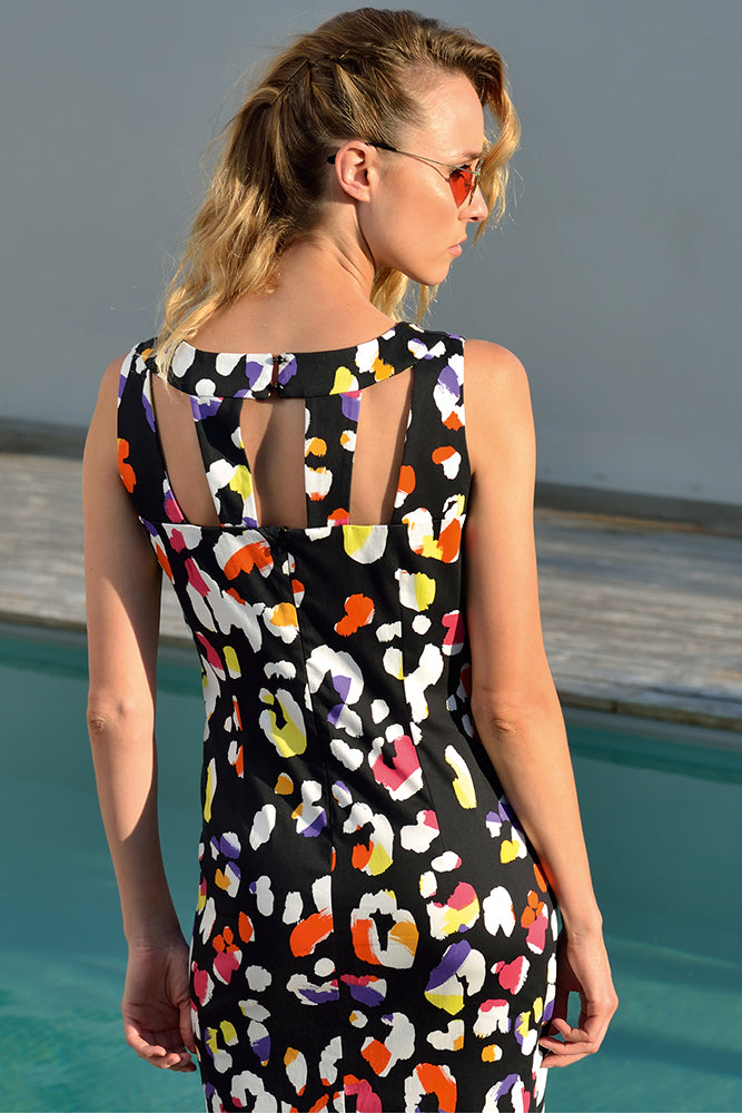 black holiday dress with coloured leopard prints