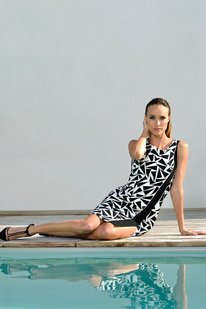 holiday dress with black and white patterns