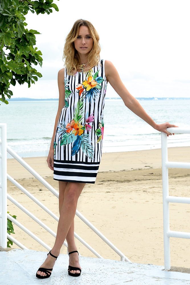 blue striped holiday dress with floral prints