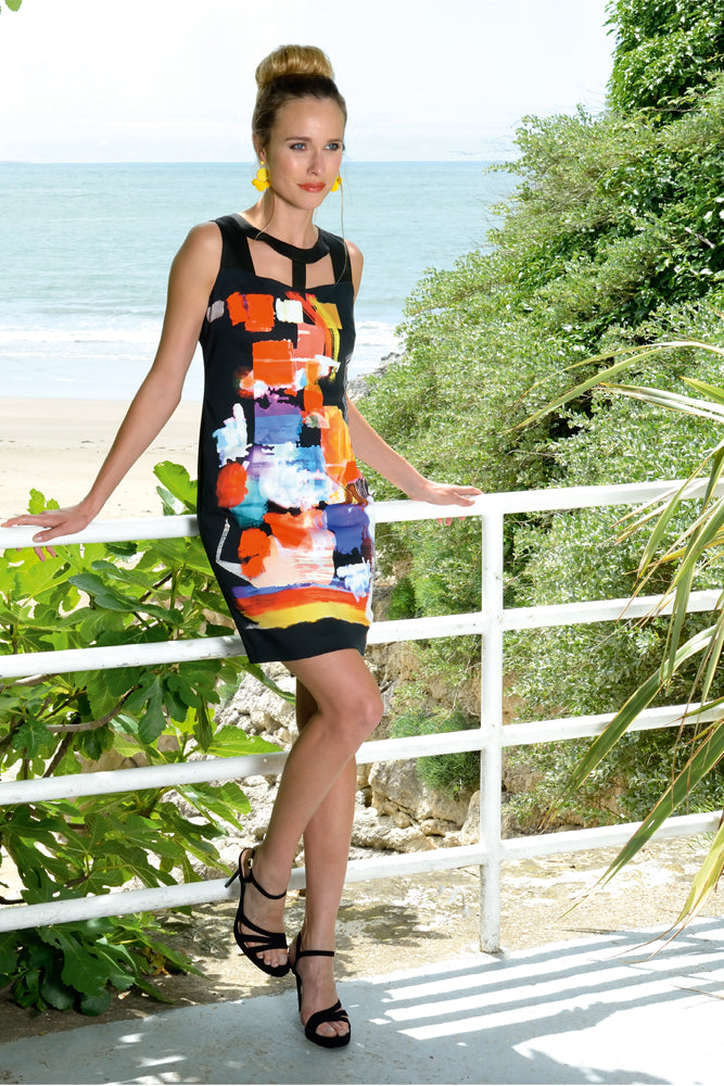black holiday dress with square colour blocks