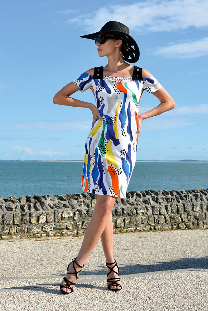 off the shoulder holiday dress in white with coloured patterns