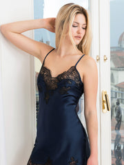 Clara Rossi - Art Silk Chemise Navy with Black Lace