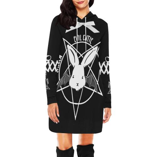 Evil Cutie Hoodie Dress - Let's Be Gothic, nightwear, clothing, punk, dark