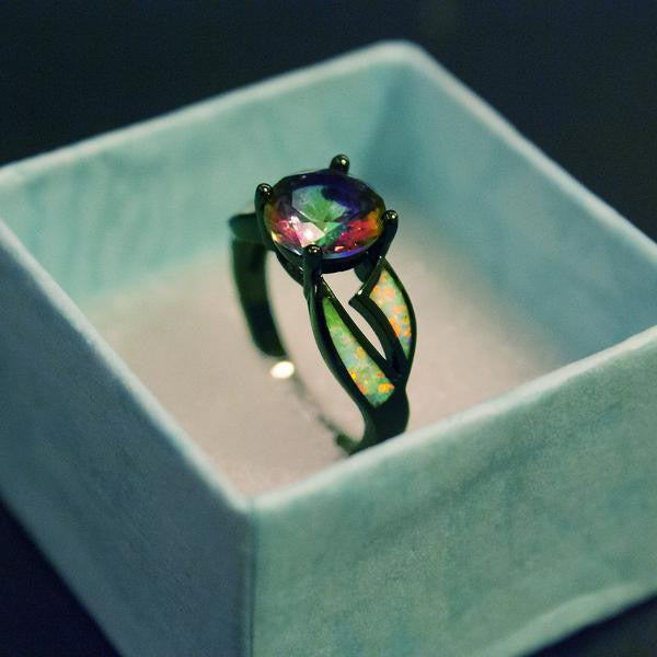 Fire Opal Ring with Genuine Mystic Rainbow Stone - Let's Be Gothic, nightwear, clothing, punk, dark