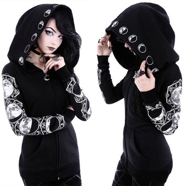 Goth Lunar Hoodie - Let's Be Gothic, nightwear, clothing, punk, dark