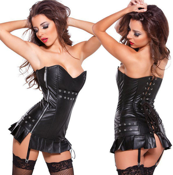 Zipper Corset Dress - Let's Be Gothic, nightwear, clothing, punk, dark