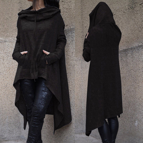 Solid Long Sleeve Hoodie - Let's Be Gothic, nightwear, clothing, punk, dark
