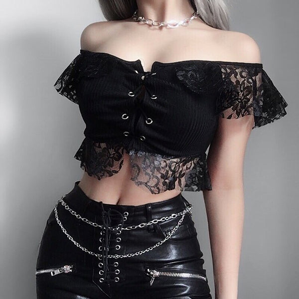 Elegant Crop Lace Up Top - Let's Be Gothic, nightwear, clothing, punk, dark