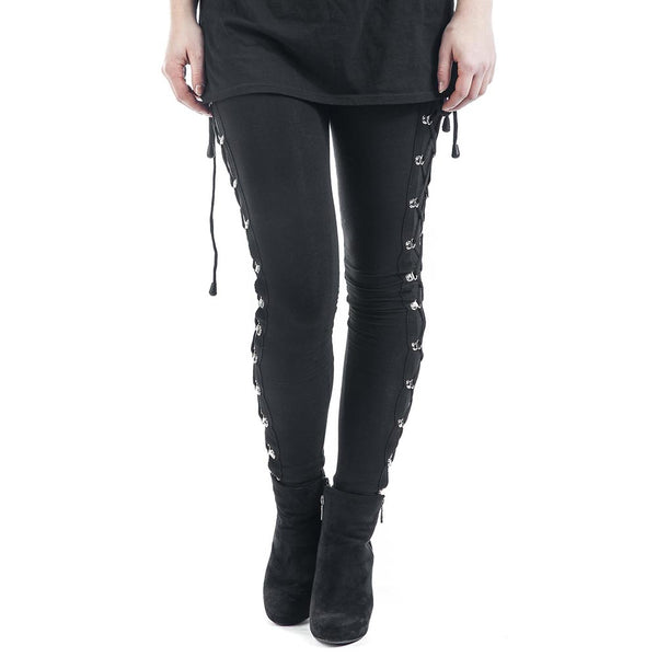 Slim Side Cross Lace Up Leggings - Let's Be Gothic, nightwear, clothing, punk, dark