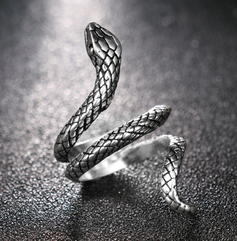 Gothic Silver Snake Ring - Let's Be Gothic, nightwear, clothing, punk, dark