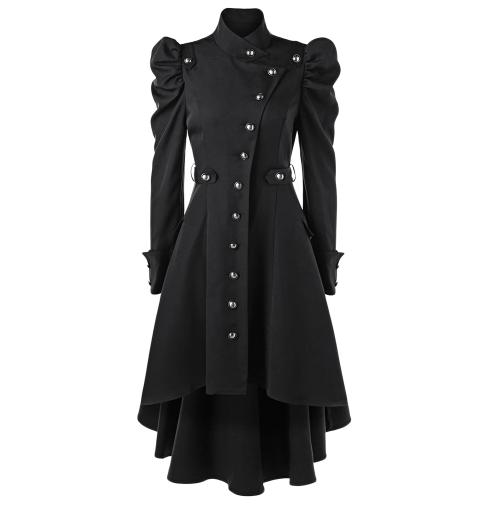 Buttons High Waist Coat - Let's Be Gothic, nightwear, clothing, punk, dark