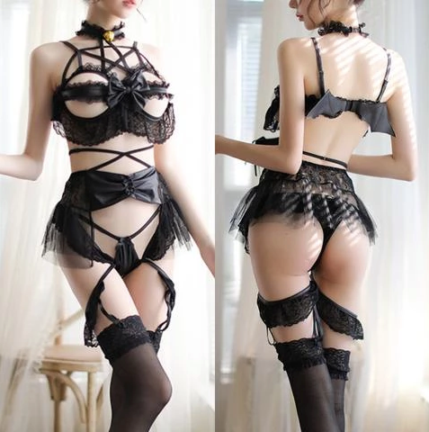 Pentagram Devil Lingerie Set - Let's Be Gothic, nightwear, clothing, punk, dark