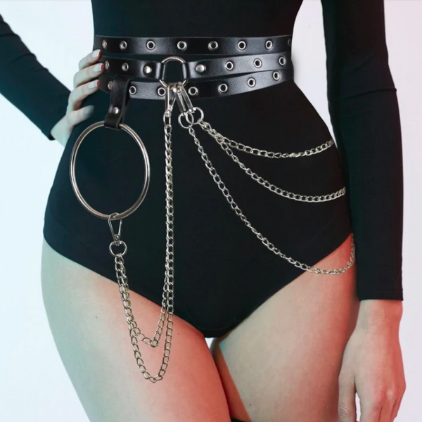 O-Ring Leather Belt - Let's Be Gothic, nightwear, clothing, punk, dark