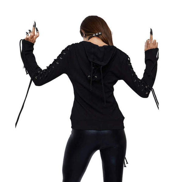 Lace Up Goth Hoodie - Let's Be Gothic, nightwear, clothing, punk, dark