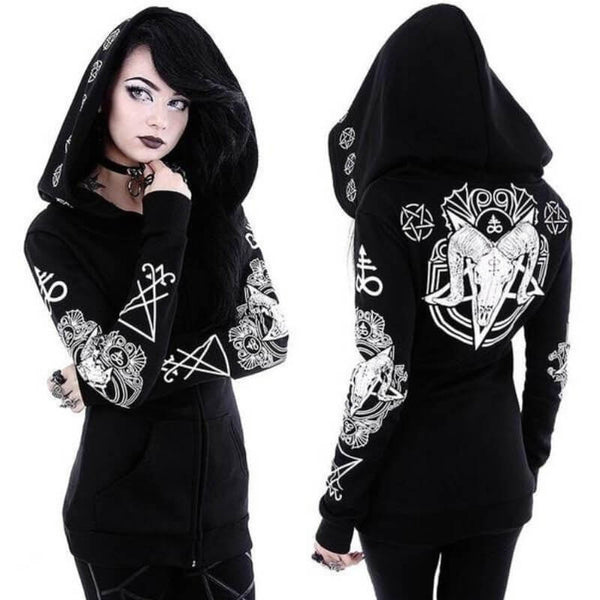 Satanic Witch Hoodie - Let's Be Gothic, nightwear, clothing, punk, dark