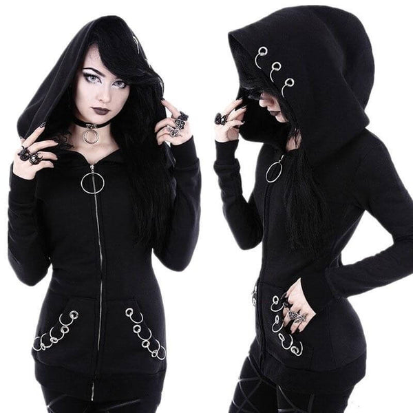 O-Rings Punk Hoodie - Let's Be Gothic, nightwear, clothing, punk, dark