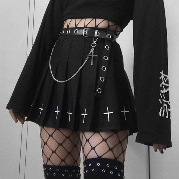 Cross Punk Skirt - Let's Be Gothic, nightwear, clothing, punk, dark