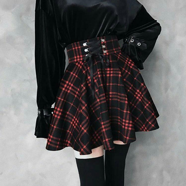 Red Black Lace Up Plaid Skirt - Let's Be Gothic, nightwear, clothing, punk, dark