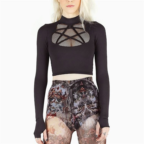 Hollow Pentagram Long Top - Let's Be Gothic, nightwear, clothing, punk, dark