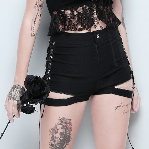 Expose Zipper Lace Up Short - Let's Be Gothic, nightwear, clothing, punk, dark
