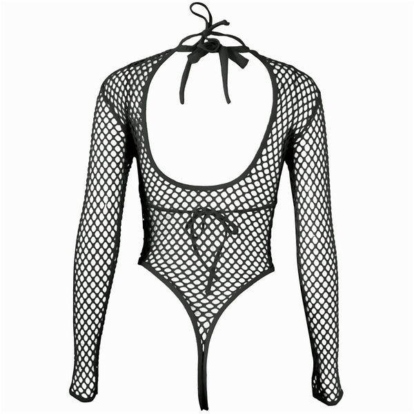 Long Sexy Fishnet Bodysuit - Let's Be Gothic, nightwear, clothing, punk, dark