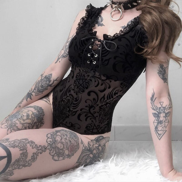Lace Mesh Bodysuit - Let's Be Gothic, nightwear, clothing, punk, dark