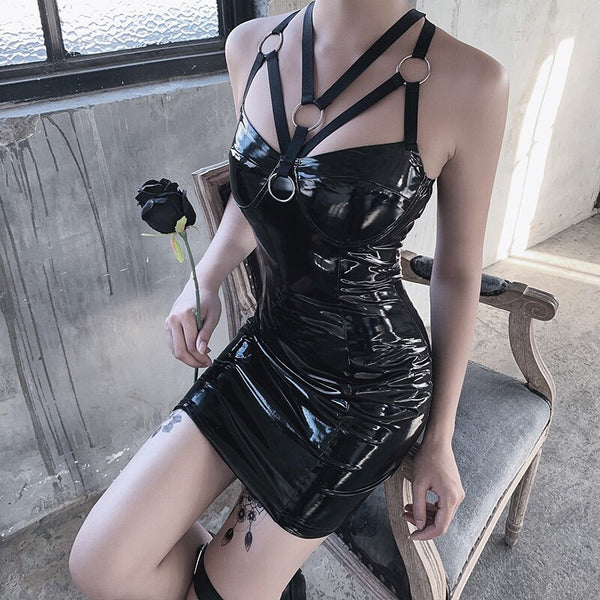 Leather Goth Halter Dress - Let's Be Gothic, nightwear, clothing, punk, dark