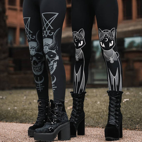 Cat & Skull Witch Pants - Let's Be Gothic, nightwear, clothing, punk, dark